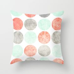 Circles (Mint, Coral & Gray) Throw Pillow