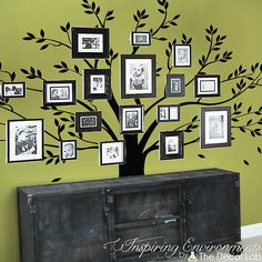 Family gallery tree wall decal, family photo tree wall decal, interior design decor ideas, vinyl wall stickers, baby nursery decor