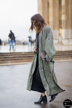 Isabelle Kountoure before Haider Ackermann fashion show. Shop this look (or similar) here: Coat: MISSONI Crochet-knit wool-blend coat // Abercrombie & Fitch Car Coat // Max Mara Angelo coat Boo…