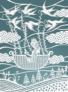 Original Papercut Illustration - Flying with the Birds - 8x10 Fine Art Print by Sarah Trumbauer. $20.00, via Etsy.