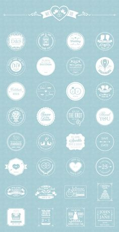 The pack includes 32 high quality vector free wedding badges, available in AI and EPS file format. Wedding Logo Design, Wedding Branding, Monogram Wedding, Wedding Designs, Web Design, Retro Design, Graphic Design, Pochette Cd, Wedding Badges
