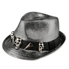Personalized Silver Gray Grey Skull Punk Rock Emo Dress Fedora Hat SKU-71108107 *** love the shine to it
