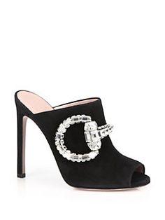 Gucci - Maxime Crystal Horsebit Suede Sandals