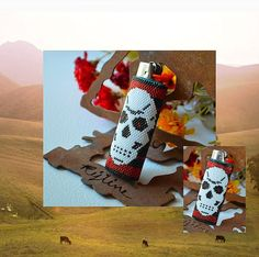 Bead PATTERN Skull Lighter Cover Peyote Or Brick von Outoftheflames
