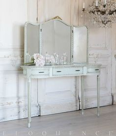 Eloquence One of a Kind Vintage Vanity Tri-Fold Mirror