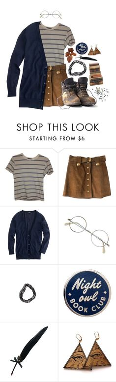 """""""night owl book club"""" by junkie-cosmonaut ❤ liked on Polyvore featuring Brandy Melville, Gucci, J.Crew, Masquerade, Fountain and Rosita Bonita"""