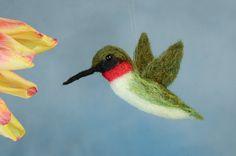 Hummingbird Ruby Throated wool felted handmade by WildThingsMaine