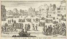 Jan Luyken | Christelijke gevangenen worden op een plein te Algiers als slaaf verkocht, Jan Luyken, 1684 | Prent rechtsboven gemerkt: fol: 384.