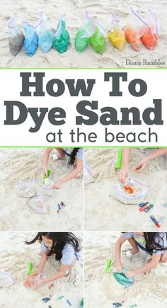 How To Color Dye Beach Sand Tutorial - Learn how to dye sand with food coloring and make colorful sand castles and other beach arts and crafts. Create a rainbow of fun colors. It's perfect for summer trips! #artsandcrafts