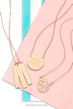 Don't leave home without it! Complete your daily style with a personalized rose gold jewelry. From bar necklaces, monograms, to initial pendants you'll easily find that finishing touch from Eve's Addiction. Customize online and save 30% on your order! And with a free shipping offer, you'll be sorry to miss out on these stunning pieces. #rosegold