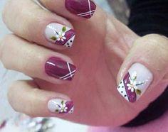 Would be really good design without the flowers. Fingernail Designs, Nail Polish Designs, Beautiful Nail Designs, Cute Nail Designs, Nails Only, Flower Nail Art, Easy Nail Art, Toe Nails, Holiday Nails