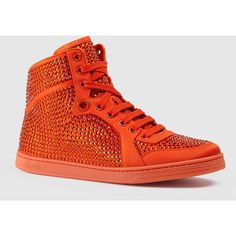 Gucci coda satin effect fabric high-top sneaker ($1,100) ❤ liked on Polyvore featuring shoes, sneakers, neon orange, women's shoes, gucci sneakers, satin shoes, gucci high tops, neon high top sneakers and rubber sole shoes