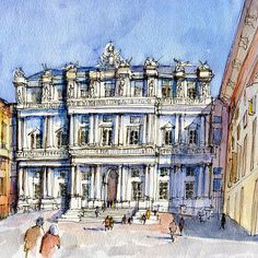 'Palazzi Ducale a Genova- color version' Greeting Card by Luca Massone disegni Street Pictures, Pen And Wash, Paris Art, Urban Architecture, Urban Sketchers, Watercolor Sketch, Art Sketchbook, Illustration Art, Sketches