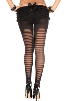 #MusicLegs #StaySexy www.fifty-6.com ml7300 -BLACK Semi sheer horizontal striped spandex #tights