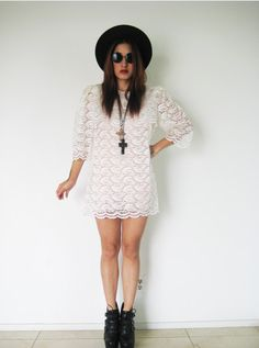Vintage 70′s lace see-through puff sleeves lolita hippie bohemian boho