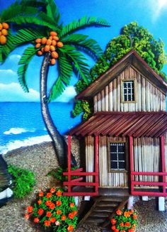 Beautiful Paintings, Beautiful Landscapes, Polymer Clay Painting, Peruvian Art, Clay Wall Art, Cuban Art, Caribbean Art, Cottage Art, Art N Craft