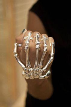 Silver hand bones bracelet