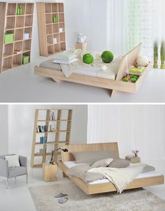 This award-winning bed by the German group, Vitamin Design, features a reach-around storage space roomier than most side tables are. VG pulled the headboard forward, extending it to the floor as a support, then employed typically-Germanic attention to materials (100% wood) and details (clean and elegant).