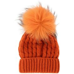 MARINI SILVANO ESKIMO Orange Knitted Fur Beanie (84 CAD) ❤ liked on  Polyvore featuring accessories, hats, beanie, cappelli, orange beanie, wide  hat, ... 6d725edc8d2