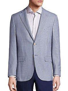 Corneliani Checked Wool Blazer - Light Blue - Size 50 (40) R