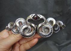 Art Nouveau Sterling Silver Double Snake Garnet Belt Buckle