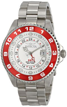 Invicta Men's 17130 Pro Diver Analog Display Swiss Quartz Silver Watch. Magnified date window at 3:00. White dial with silver tone, red and white hands, silver tone and white hour markers; luminous; unidirectional stainless steel bezel with red top ring; GMT ; mineral crystal; stainless steel case and bracelet. Swiss-quartz movement. Case Diameter: 47mm. Water resistant to 660 feet.