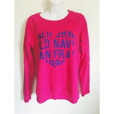 Old navy sweatshirt Size = S, pink old navy sweatshirt , blue lettering in the shape of the heart, letters has some cracking on it you can refer to the second pic. Very cozy and comfortable.  ~ I DO NOT SWAP, SO PLEASE DON'T ASK. YOU WILL BE IGNORED.  ~ I NO LONGER HOLD MY ITEMS  ~YOUR PURCHASE WILL BE SHIPPED WITHIN 24-48 HOURS AFTER PURCHASED, FROM THAT POINT ON I CANNOT CONTROL HOW LONG IT WILL TAKE FOR THE SHIPPING SERVICE TO GET IT TO YOU.   ~I AM MORE THAN HAPPY TO MAKE YOU A BUNDLE…