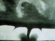 The earliest known tornado photograph, taken in South Dakota in 1884 and retouched and sold as a postcard.
