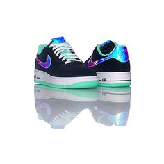 AIR FORCE ONE LOW SNEAKER ($79) ❤ liked on Polyvore featuring shoes, sneakers, nike, black low top sneakers, green shoes, lace up shoes, black leather shoes and leather low top sneakers
