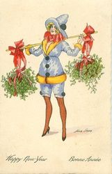 Vintage Christmas - girl carries two large bundles of mistletoe. New Year Greeting Cards, New Year Greetings, New Year Card, Christmas Images, Christmas Art, Xmas, Vintage Cards, Vintage Postcards, New Year Postcard