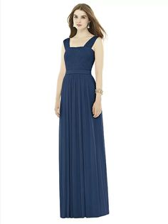 Alfred Sung Style D718 (shown in midnight). Wedding World. Maeve tried on in duck egg blue. Tried on towards end of appointment, didn't get a lot of attention. Sample was big on Maeve so maybe didn't stand out. Waistband, great bust coverage, wide straps and high enough back. Straight across neckline too 'little girl'?
