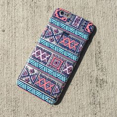 """Clear Plastic Case Cover for iPhone 6 (4.7"""") Colored Aztec 1"""