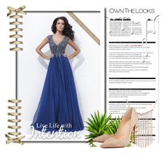 """""""V-neck Lace Prom Dresses"""" by johnnymuller on Polyvore featuring Arche, Christian Louboutin and Nivea"""