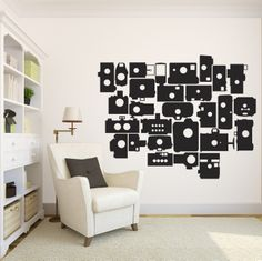 Retro Photo Cameras Set - Vinyl Wall Art Decal for Kids Rooms, Photograpy Classrooms, Dark Rooms, Colleges, Workplaces