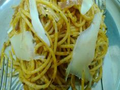Spaghetti in Tomato Sauce with shavings of Emmental Cheese!