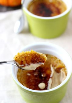 Silky smooth pumpkin creme brûlée is sweetened with maple syrup and filled with warm spices. This elegant (but easy) dessert will leave your holiday guests wanting more. Just Desserts, Delicious Desserts, Dessert Recipes, Yummy Food, Pumpkin Recipes, Fall Recipes, Sweet Recipes, Thanksgiving Recipes, Holiday Recipes