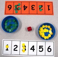 Number tracks, dots & dice games from Early Years Magazine (,) Numbers Preschool, Math Numbers, Preschool Learning, Kindergarten Math, Teaching Math, Early Learning, Maths Eyfs, Numeracy Activities, Math Classroom
