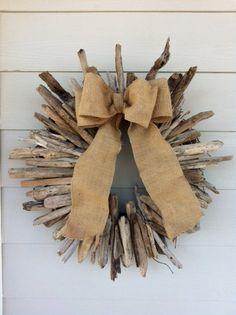 Handmade Driftwood wreath with burlap ribbon by astikras on Etsy. I could do something like this and call it Max's wreath! Driftwood Wreath, Driftwood Projects, Driftwood Art, Coastal Christmas, Christmas Wreaths, Christmas Crafts, Christmas Decorations, Xmas, Natural Christmas