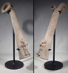 Pre-Columbian Moche Pottery Trumpet ; Moche Trumpet — Peru   400 AD - 700 AD   A nice Moche pottery trumpet from ancient Peru, dating to Phase IV. Constructed of buff gray-tan terracotta