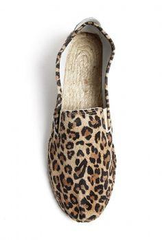 Natural Leather Leopard Print Espadrilles by Prism
