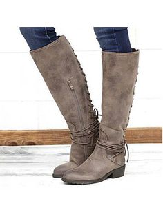 Plain Flat Round Toe Date Outdoor Knee High Flat Boots - Outfit Post Thigh High Boots Flat, Flat Boots, Lace Up Shoes, Me Too Shoes, Dress Shoes, Women's Shoes, Dance Shoes, Tall Riding Boots, Tall Fall Boots