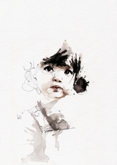 Selected Illustrations by Florian NICOLLE - Malerei/Zeichnungen - Kind Girl Watercolor, Watercolor Portraits, Watercolor Paintings, Watercolor Drawing, Watercolor Design, Art Et Illustration, Ink Illustrations, Inspiration Art, Tattoo Inspiration
