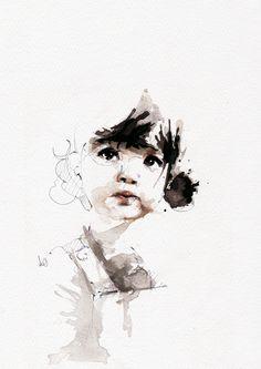 Illustration de Nicoe Florient 2011 Fascinant le regard de cette enfant. Traité comme un lavis qui fait penser à la technique orientale. De toute beauté.