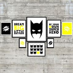 This Superhero Wall Art Gallery Print Set is perfect for your favorite little superhero. Great for a play room, childs room, or baby boy