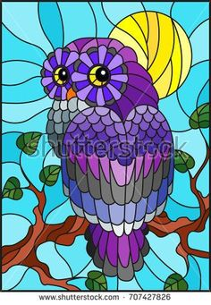 Illustration in stained glass style with fabulous colourful owl sitting on a tree branch against the sky and sun #StainedGlassOwl