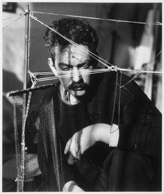 de-salva:  Alexander Calder in his Studio (Atelier), 1929.  Photo by André Kertész: http://en.wikipedia.org/wiki/Andr%C3%A9_Kert%C3%A9sz  Alexander Calder: http://en.wikipedia.org/wiki/Alexander_Calder  * Paris, musée national d'Art moderne - Centre Georges Pompidou