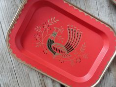 Small Scandinavian Red Peacock Tray by GallivantingGirls on Etsy, $7.00