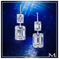 Utterly exceptional emerald-cut diamond earrings with two carat and two carat diamonds. only by the House of Moussaieff Emerald Cut Diamond Earrings, Marquise Diamond, Diamond Bangle, Emerald Cut Diamonds, Diamond Jewelry, Gold Earrings, Solitaire Earrings, Diamond Stud, Jewelry Bracelets