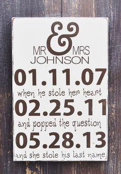 Personalized Engagement Gift,Wedding Gift, Engagement Present, Bridal Shower Gift, Custom wood wedding sign. $38.00, via Etsy.