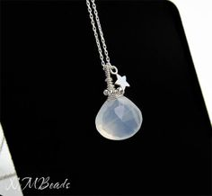 Wire wrapped Moonstone Necklace With Star Charm - Chakra Jewelry by NMBeadsJewelry